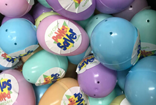 plactic easter eggs with power saver stickers on them