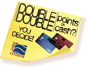 sticky note with DOUBLE DOUBLE points or cash you decide