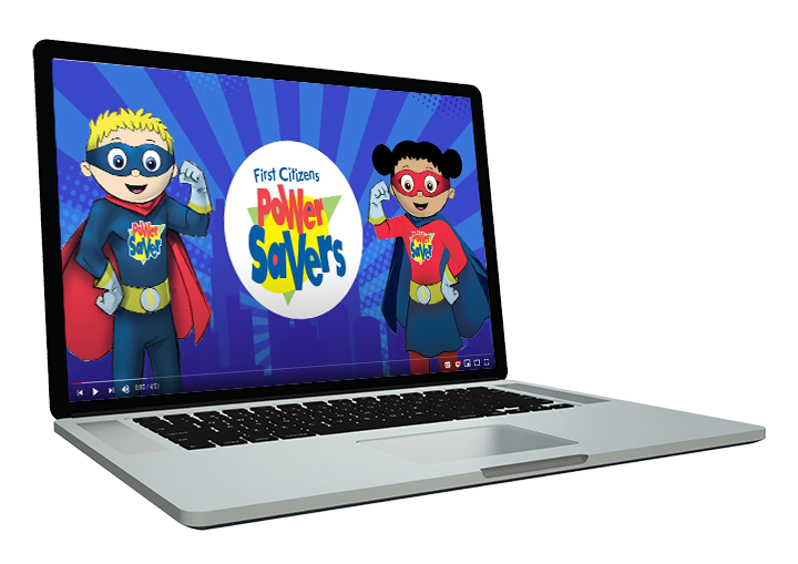 mascots on laptop