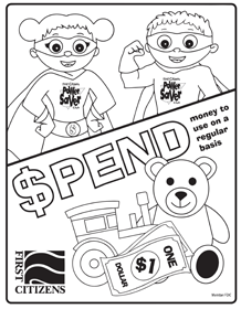 spend coloring page preview